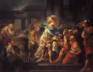 Alexander der Große durchtrennt den Gordischen Knoten, Jean-Simon Berthélemy